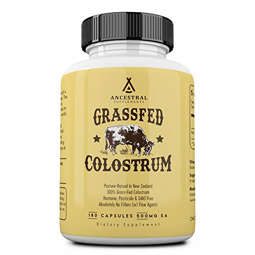 Ancestral Supplements Grass Fed Colostrum – Supports Immune, Gut, Growth and Repair (180 Capsules)
