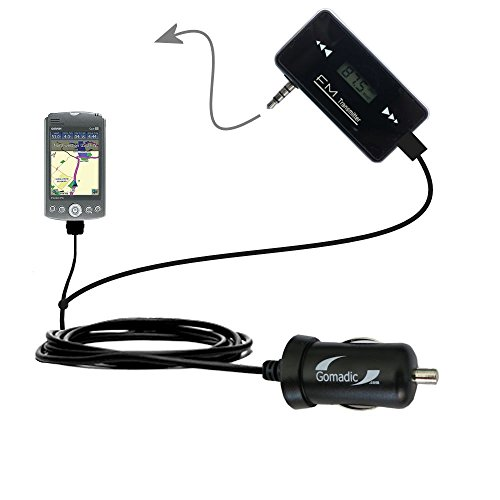 - 3rd Generation Powerful Audio FM Transmitter with Car Charger suitable for the Garmin iQue M5 - Uses Gomadic TipExchange Technology