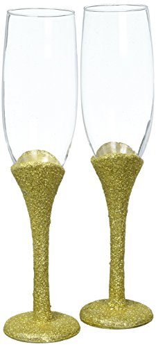 Fashioncraft Golden Elegance Collection Set of 2 Toasting Glasses, One Size, Yellow