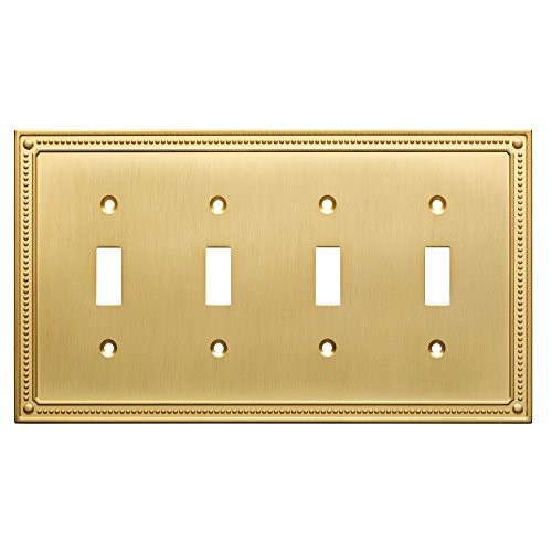 Franklin Brass W35068-BB-C Classic Beaded Quad Switch Wall Plate/Switch Plate/Cover, Brushed Brass ()