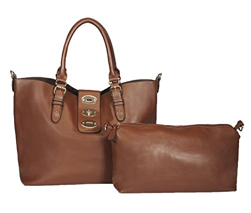 Rimen & Co. Faux Fashion PU Leather Large Hobo Tote Shoulder Handbag Diaper bag Women's Purse Bag in Bag 85797 Dark Brown by Rimen & Co