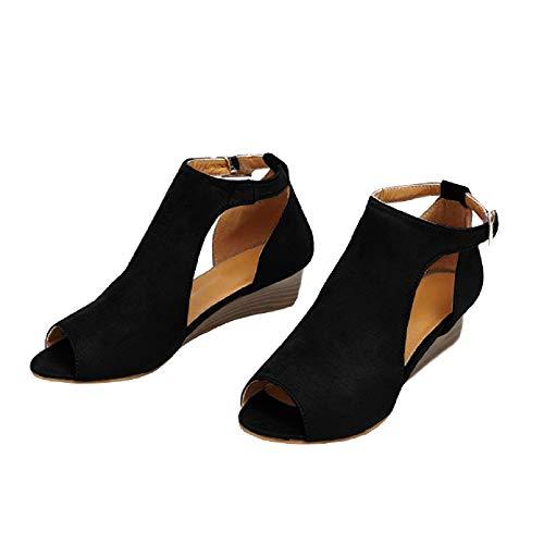 (BBalizko Womens Open Toe Ankle Buckle Cut Out Low Heel Strap Bootie Boots)