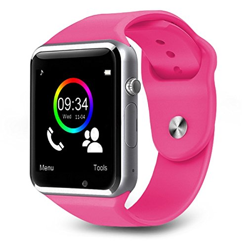 Bluetooth Smart Watch A1 Bluetooth Waterproof GSM SIM Phone Smart Watch For Android, IOS, & Smart Phones (Pink)
