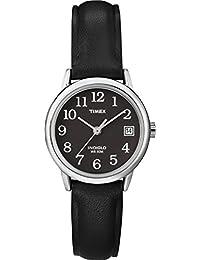Timex T2N525GP Women's Dress Black Dial with Black Leather Strap Wrist Watch