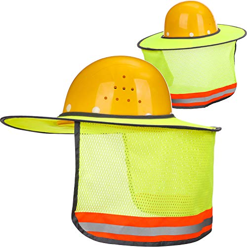 Maxdot 2 Pack Hard Hat Sun Neck Shield Full Brim Sunshade for Hard Hats, Reflective, High Visibility, Full Brim Mesh Sun Shade Protector (Yellow)