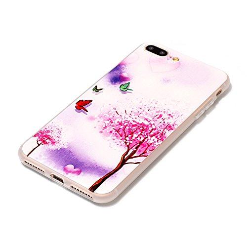 iPhone 8 Plus Hülle,3D Baum und Schmetterling Premium Handy Tasche Schutz Transparent Schale Für Apple iPhone 8 Plus + Zwei Geschenk