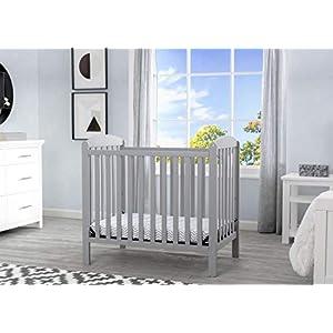 Delta Children Emery Mini Convertible Baby Crib with Mattress, Grey