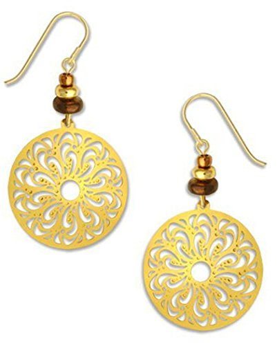Gold-tone Large Filigree Oval Gold-tone Plate Earrings Made in USA by Adajio Sienna Sky 7358 -