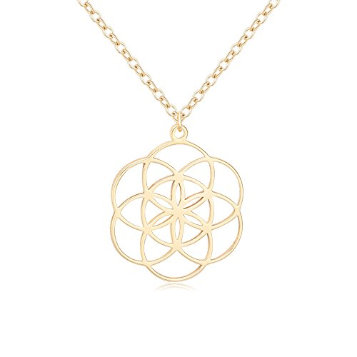 TUSHUO Simple Life Seed Necklace 3 Colors Hollow Flower of Life Pendant Jewelry Gift for Lady (Gold)