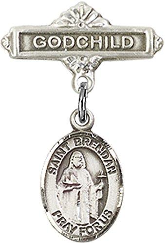 Sterling Silver Baby Badge Godchild Bar Pin with Saint Brendan the Navigator Charm, 11/16 - Brendan Bar