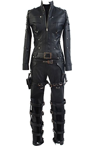 Sidnor Green Arrow Black Canary Sara Lance Cosplay Costume Artificial Leather Outfit (Black Canary Boots)
