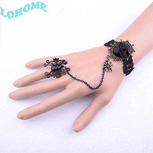 BIGBAG(TM) Pack of 3 Set Handmade Romantic Gothic Style Royal Hand Chain Wristband Bracelet with Ring Set for Costume Fancy Ball Masquerade Vampire Jewelry Decorations (Black Rose