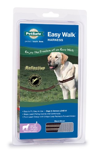 PetSafe Reflective Easy Walk Dog Harness, Medium/Large, Black/Silver