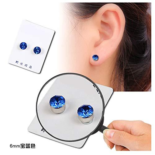 stainless steel 10 Color Cubic Zirconia Without Pierced Ears Earrings Health Magnet Clip Earrings For Women Men C00006,Dark Blue