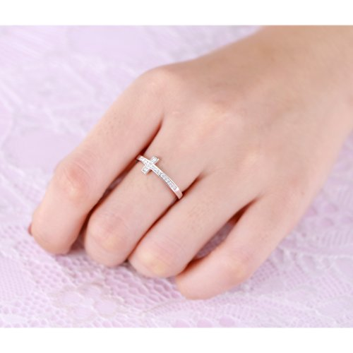 DAOCHONG Inspirational Jewelry Sterling Silver Engraved Faith Hope Love Sideway Cross Ring, Size 6 7 8 (7) by DAOCHONG (Image #1)