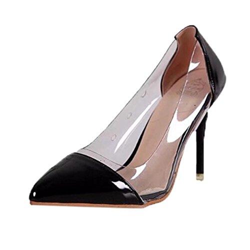 Talons Pointus Chaussures De Mariage pour Femmes Rawdah Femmes Pompes Transparent Hauts Talons Sexy Pointu Toe Slip-on Chaussures De Fête De Mariage Noir Rb0axT