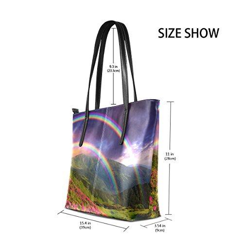 Coosun Tracolla Le Muticolour Bag Per In Borse Medio Sul Tote Flowers Borsa E Pu Arcobaleno Donne Pelle qwR1rdxBq