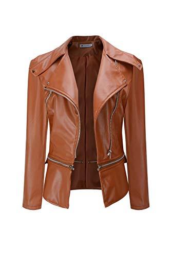Rouge Veste Complet Slim Moto Coureur Pu Revers Zip Femmes Pardessus zqf6p