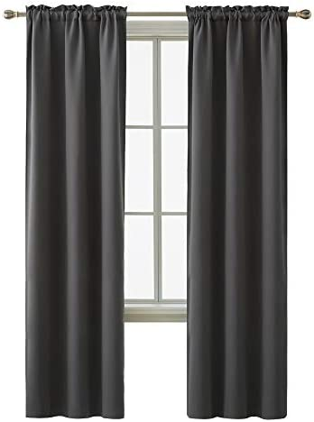 Deconovo Thermal Insulated Curtains Rod Pocket Blackout Curtain Panel 38 Inch by 84 Inch Dark Grey Set of 2