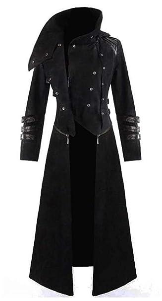 Mens Black Tailcoat Jacket Gothic Steampunk Victorian Halloween Costume Long Coat Mens Vintage Frock Uniform