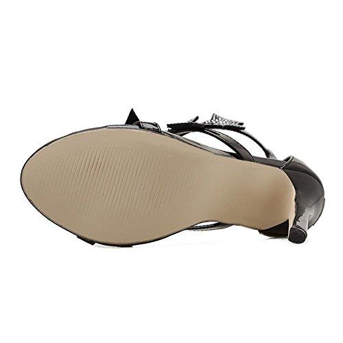 Tobillo Negro Sandalias Mirar De Alto Zapatos Diamante Imitación Dedo Black Nocturno Correa Vestir Estilete Fiesta Furtivamente Pie Mujer Club Tacón Estrella Plata Del qv7Xaxddw