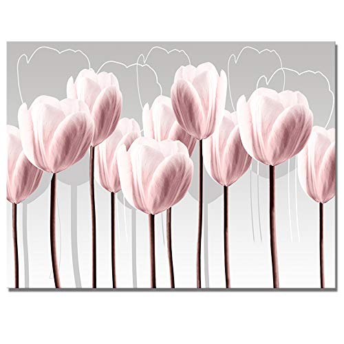 Visual Art Decor Pink Grey and White Abstract Floral Canvas Wall Art Pictures Beautiful Tulip Flowers Painting Printed on Canvas for Living Room Office Wall Decoration Ready to ()