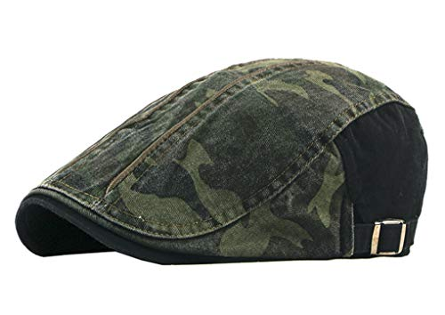 - UTALY Camo Newsboy Cap Army Cotton Gatsby Flat Ivy Driving Hunting Golf Hat (Black)