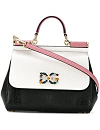 Women's BB6002AN22589697 White/Black Leather Handbag
