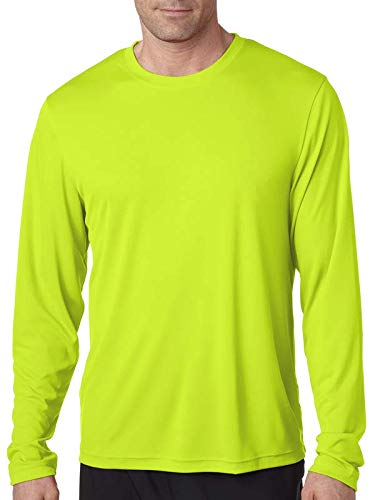 Slinky Long Sleeve - Hanes Cool DRI'Performance mens Long-Sleeve T-Shirt,Safety Green,X-Small