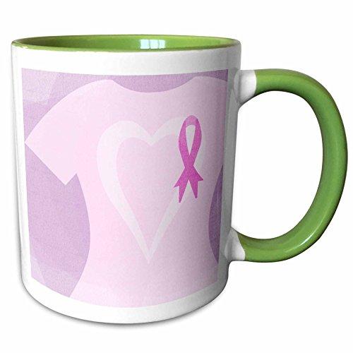 3dRose PS Inspirations - Pink Ribbon T Shirt Breast Cancer Awareness - 15oz Two-Tone Green Mug (mug_108977_12)