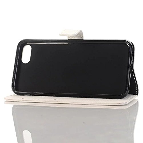 JIALUN-carcasa de telefono Funda iPhone 7, Patrón de Litchi de alta calidad Funda de cuero PU Funda de la caja de la carpeta de Color sólido Flip Funda del soporte para Appple iPhone 7 ( Color : Brown White