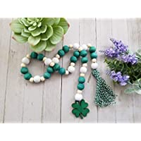St Patricks Day decorations garland, St Patricks Day beads, 2 styles to choose from, measures 28 inches