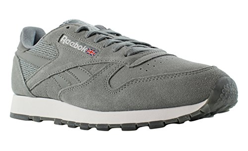 Reebok Men's CL Leather NM Fashion Sneaker, Flint Grey/White, 7 M US (Flint 7 Grey)