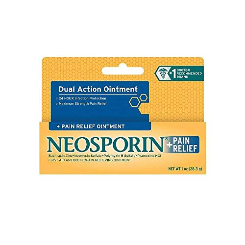 Neosporin First Aid Antibiotic Ointment Maximum Strength Pain Relief, 1-Ounce (Pack of 2)