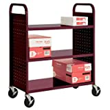 Sandusky Lee SF336-03 3 Flat Shelf Book Truck, 19'' Length, 39'' Width, 46'' Height, 3 Shelves, Burgundy