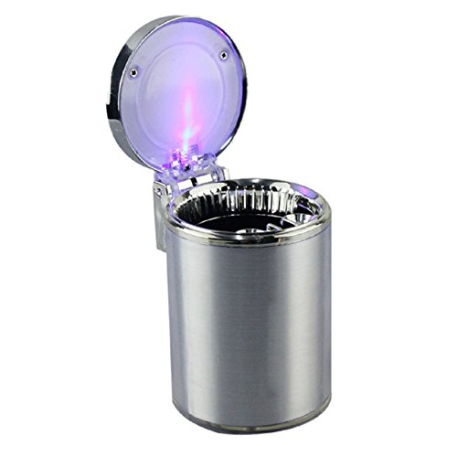 Malloom Movable Ashtray Car LED Light Ashtray Auto Travel Cigarette Ash Holde...