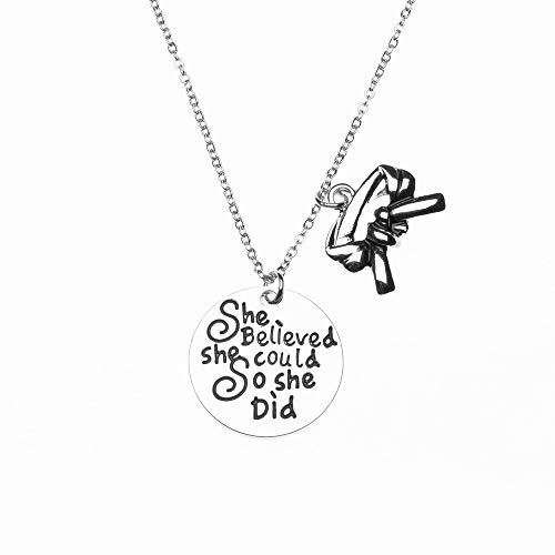 Sportybella Martial Arts Necklace, She Believed She Could So She Did Belt Keychain, Martial Arts Gift