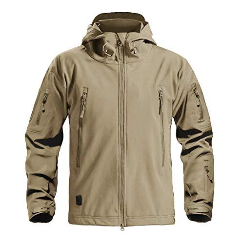 CRYSULLY Men Autumn Winter Mens Mountain Fishing Rain Hunting Shell Jacket Ski Coat Khaki by CRYSULLY