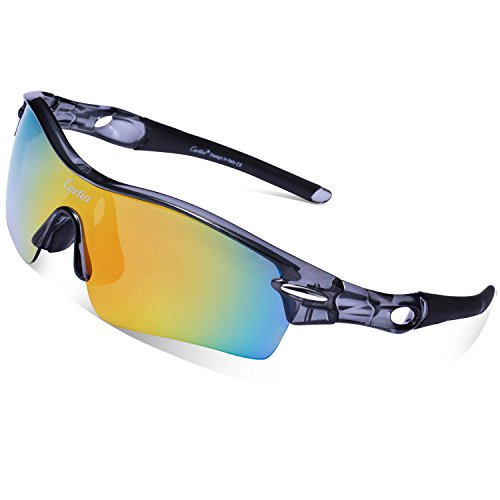 Cycling Sunglasses-Carfia TR90 Sports Sunglasses UV400 Protection Goggles Polarized Sunglasses with 5 Interchangeable Lenses for Ski Running Cycling Fishing - Sunglasses Ski