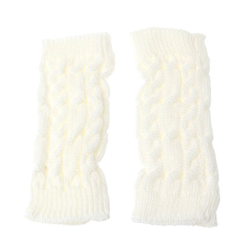 Stebcece Women's Cable Knit Arm Warmer Fingerless Gloves Thumb Hole Gloves Mittens (White) from Stebcece