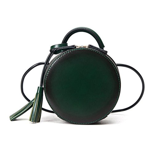 Women Round bag fashion handbag Cool Crossbody bags NEW PU Leather Shoulder bag Green (Bag Leather Round Tags)
