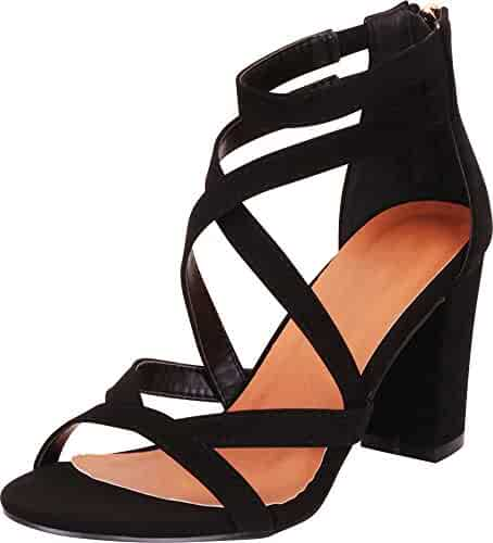 5d81f1e813a Cambridge Select Women s Open Toe Crisscross Strappy Chunky Block Heel  Sandal