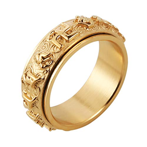 HZMAN Men's Women's Tibetan Buddhist Mantra Om Mani Padme Hum 8MM Stainless Steel Spinner Ring Wedding Band (Gold, 10)