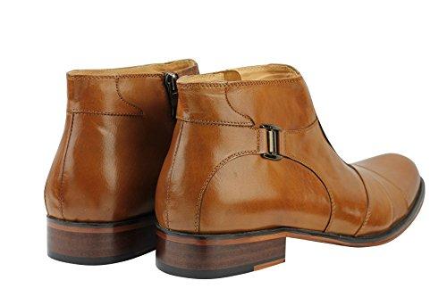 Pour Homme En Cuir Véritable Marron clair antidérapant sur Zip style italien formelle robe Bottines Chaussures
