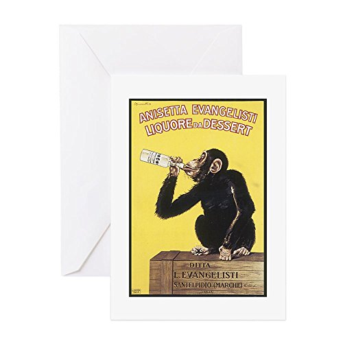 CafePress - Drinking Monkey - Greeting Card, Note Card, Birthday Card, Blank Inside Matte