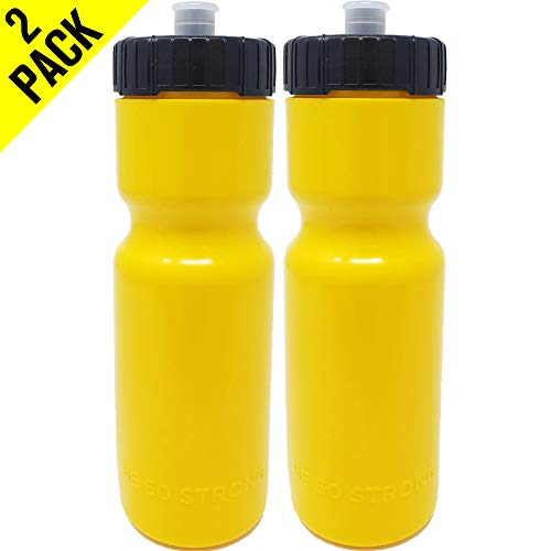 50 Strong Sports Squeeze Water Bottle 2 Pack - 22 oz. BPA Free Easy Open Push/Pull Cap - USA Made (Yellow)]()