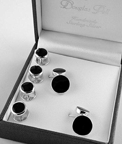 Sterling Silver Onyx Shirt Stud & Cufflink Set by Baxters Jewellers
