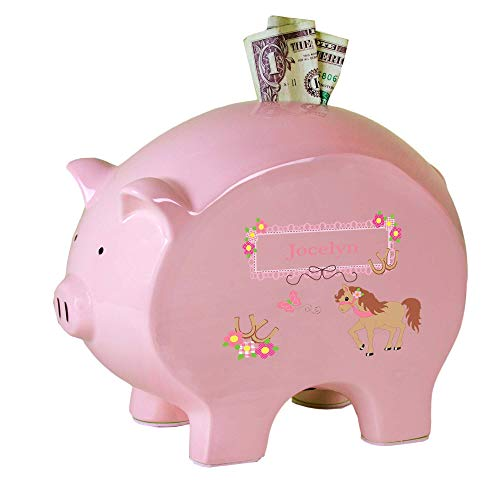 Personalized Pink Piggy Bank with Ponies Prancing Design