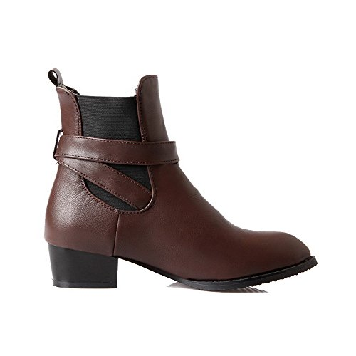 Allhqfashion Women's Pointed Closed Toe Low Heels Soft Material Low Top Solid Boots Brown lrVRU3bv