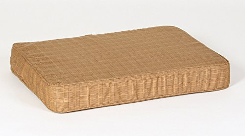 - Small Beige Plaid Orthopedic Foam Dog Bed